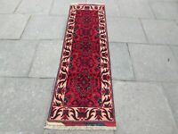 Fine Old Hand Made Traditional Afghan Oriental Wool Red Brown Runner 198x61cm
