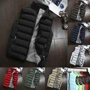 Mens Quilted Padded Gilet Outdoor Sleeveless Coat Bodywarmer Zipper Waistcoat