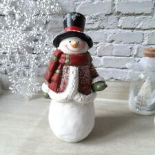 Cheery Snowman Figure In Winter Coat Christmas Ornament