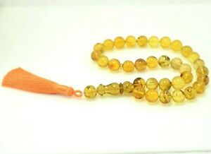 Dominican Amber Islamic Prayer Misbaha Tesbih Rosary Beads 12.51 mm(41.1 g)a1337