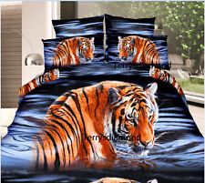 Luxurious Double 3D Printed Quilt Duvet Doona Cover tigers