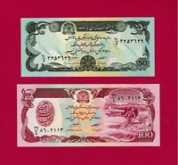 1979 AFGHANISTAN UNC NOTES: 50 Afghanis 1979 (P-57a) & 100 Afghanis 1979 (P-58a)