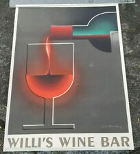 WILLI'S WINE BAR 1984 LITHOGRAPHIC POSTER PRINT BY CASSANDRE