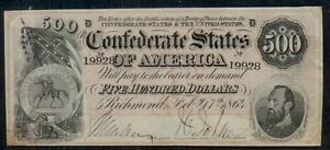 1864, T64, $500.00 CSA Note, XF+
