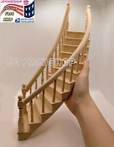 Miniature 1/12 Spiral Left Staircase Classic Unpainted Wood Dollhouse 12 Steps