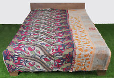 Indian Cotton Bedspread Ralli Floral Bedding Blanket Vintage Quilt Kantha Gudari