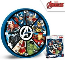 BOYS CHILDRENS KIDS MARVAL AVENGERS BEDROOM WALL CLOCK 25 CM BLUE NEW BOXED