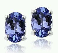 2.00 Ctw. Genuine Tanzanite Stud Earrings 14k White Gold Studs GIA $1800 Apprais