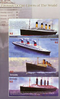 Grenada Ships Stamps 2004 MNH Famous Ocean Liners Titanic Lusitania Boats 4v M/S