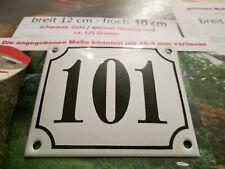 Hausnummer Emaille Nr. 101 schwarze Zahl auf weißem Hintergrund 12 cm x 10 cm