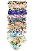 6 Pairs 100% Pure Silk Pattern Women's Bikini Panties Size M L XL 2XL 3XL