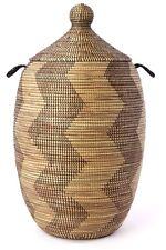 Extra Large Black & Gold Zig Zag Hamper - Swahili Modern - Afrian - Fair Trade