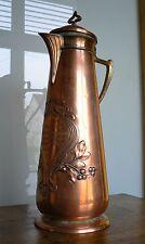 Grand pichet jug pitcher kanne art nouveau jugendstil cuivre et laiton WMF