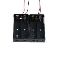 "2PCS 2x18650 Black Plastic Battery Storage Case Box Holder with 6"" Wire Lead_Pip"