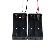 "2PCS 2x18650 Black Plastic Battery Storage Case Box Holder with 6"" Wire Lead cda"