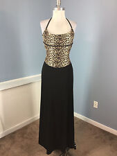 Vintage CACHE Animal Print Black brown Long Formal Gown Dress Halter XS S EUC
