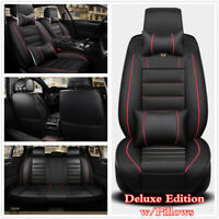 5D Full Surrounded Luxury 5-Sits PU Leather Car Seat Cover Cushions Pillows Sets