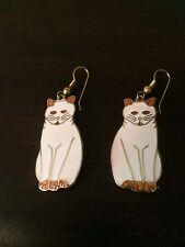Vintage Gold Tone White Enamel Cat Dangly Hook Pierced Earrings