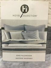 Hotel Collection PILLOW SHAM KING Frame Stripe Linen Quilted Cotton Bedding$130