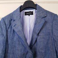 Jaeger Blazer Jacket 100% Linen Denim Look Chambray Smart Office Career Size 14