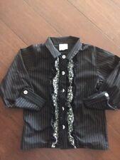 Charabia Paris Girls Button Down Top Size 6 Black W/ White Strip Floral Ruffle