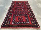 Authentic Hand Knotted Afghan Taimani Balouch Wool Area Rug 4.6 x 2.5 Ft