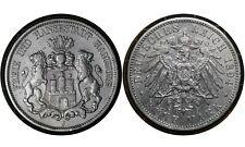 5 Mark 1904 J Free Hanseatic city of Hamburg (German States) Silver Coin # 610