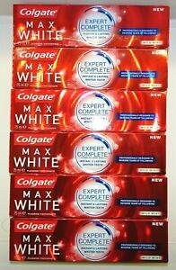 6x Colgate Max White Zahnpasta - Expert Complete Mild Mint 6x 75 ml  MHD 03/2020