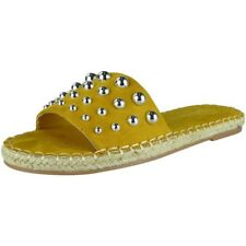 Womens Ladies Espadrilles Sliders Studded Flats Shoes Slides Comfy Slippers Size