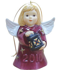 Goebel Angel Bell 2010 NIB Burgundy Angel Holding Lantern 105303 NEW BOX