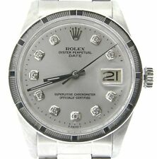 Mens Rolex Date Stainless Steel Watch Oyster Style Band Silver Diamond Dial 1501
