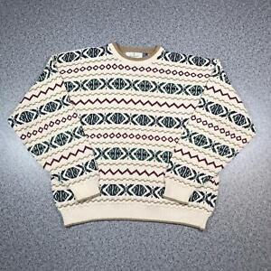 Vintage 90s BILL BLASS Cosby Style Mens Sweater XL   3D Knit Jumper