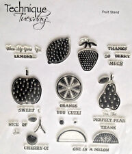 Fresh Fruit Stand Sentiments Puns Cling Technique Tuesday Rubber Stamps Set New