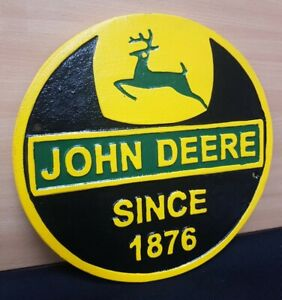 **VINTAGE STYLE  CAST IRON **JOHN DEERE SIGN TRACTOR FARM BUILDING GARAGE
