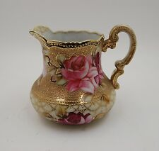 ANTIQUE NIPPON MORIAGE HANDPAINTED ROSES PITCHER