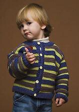 Knitting Pattern -Baby (Unisex) Crew Neck Cardi (4 sizes- 2-8ys) PO105