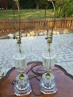 2 Vintage Glass Lamps Table Night Light 27""
