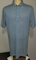 Peter Millar Mens Short Sleeve Polo Golf Shirt Large Tailored Fit Blue Gray