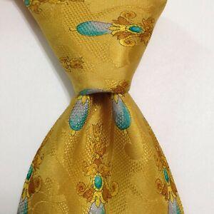 LEONARD PARIS Silk Necktie ITALY Luxury Dessin N°67861 FLORAL Yellow/Blue EUC
