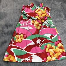 Vintage Toddler Girls Kai Nani Hawaii Floral Barkcloth Ruffle Dress