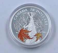 2013-W Canada $20 Proof 1 Oz 9999 Silver Colorized Canadian Maple Canopy Coin