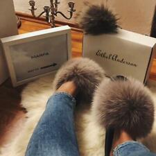 Autumn Casual Women's Real Fur Slippers Flat Non-slip Slides Vogue Fluffy Sandal