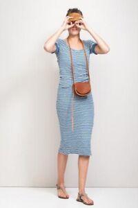 HUMANOID Traum Ringel Midi Kleid 38 hellblau weiss gestreift sitzt perfekt