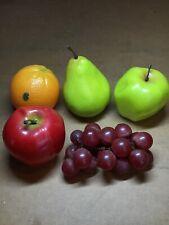 Vintage Plastic Fruit Orange, Pear, Apple, Grapes Made In Hong Kong