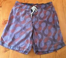 Old Navy Mens Large Purple Orange Printed Swim Trunks Bathing Suit