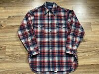 Vintage Pendelton Red Blue Virgin Wool Button Down Flannel Board Shirt Sz 16 1/2