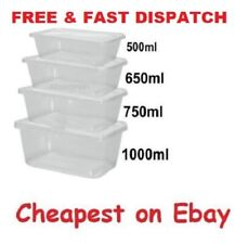 25 X 650ml Clear Plastic Quality Containers Tubs with Lids Microwave Food Safe