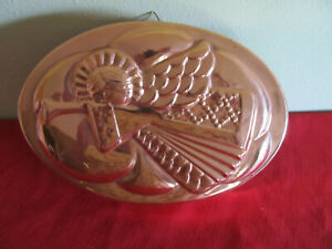 """10"""" Copper oval jello mold with Angel w/hanger made in Korea"""