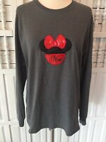 """Gray T-shirt women's S long sleeve, Mini Mouse """"Mom"""" Fruit of the Loom"""", red h23"""