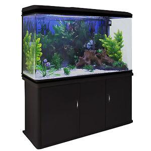 300 Litre 4ft Fish Tank Aquarium Black Cabinet Complete Set Up Tropical Marine